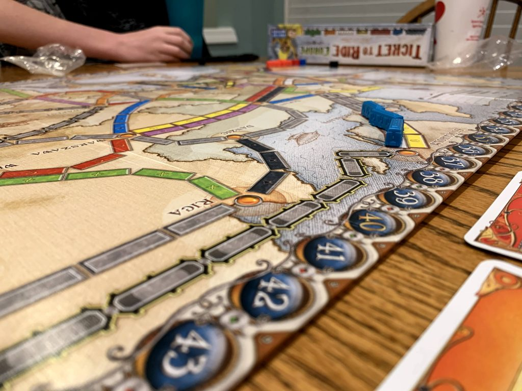 Ticket to ride is a family board game we all love.
