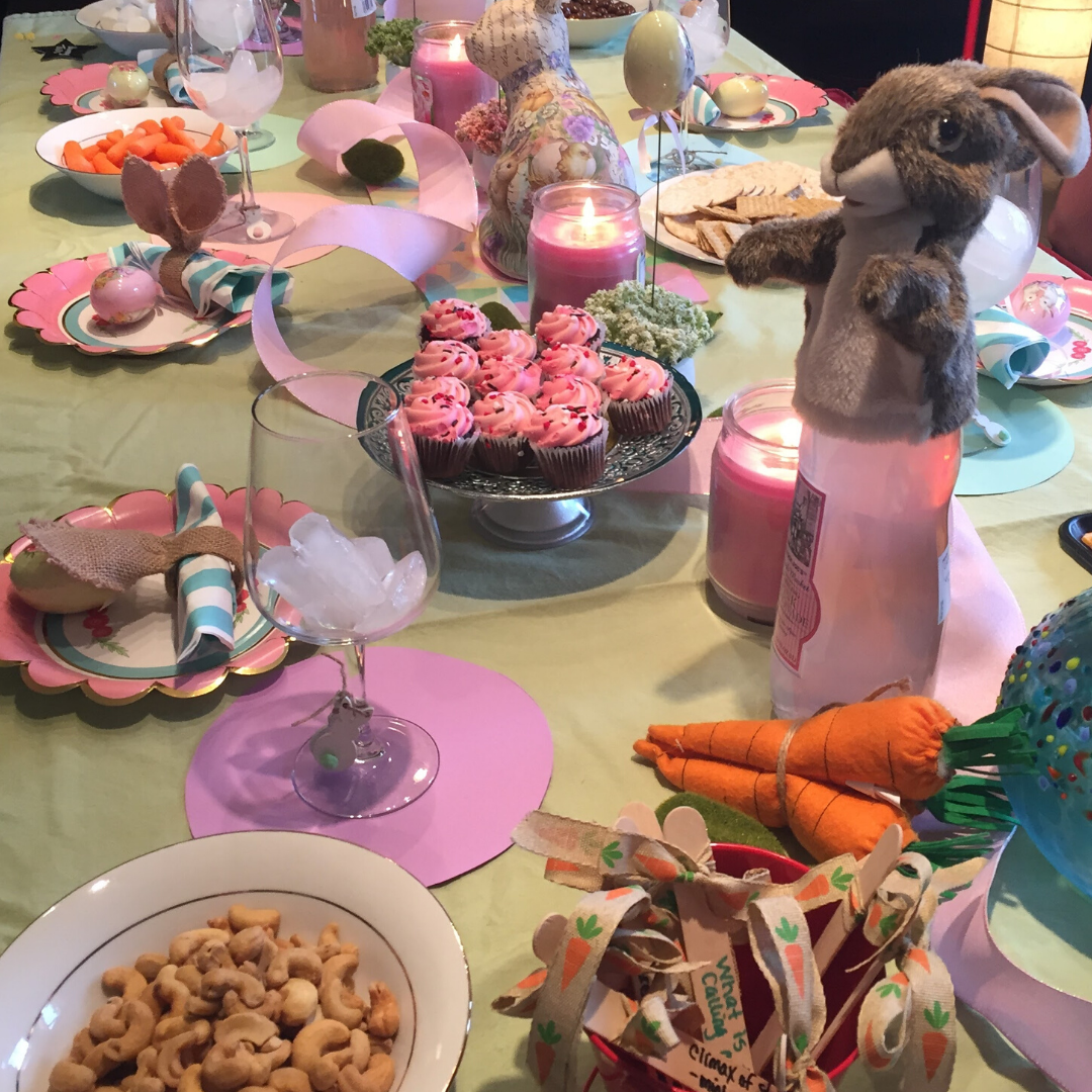 This delightful table setting for the Green Ember book club encompasses the hopeful beauty of the Mended Wood. It's full of rabbit food and delicious treat.