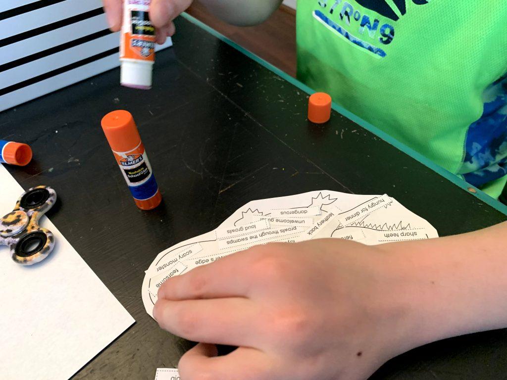 Using WriteShop Junior skill builders to create concrete poetry.