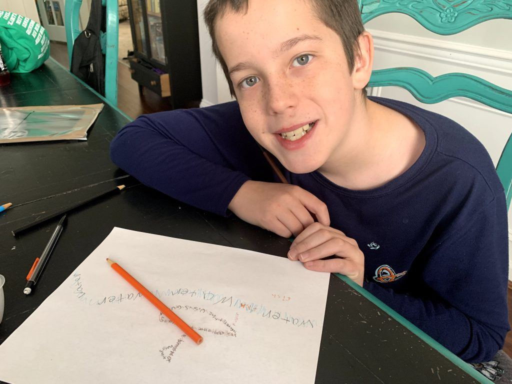 Writing our Concrete poems when homeschool writing with teens